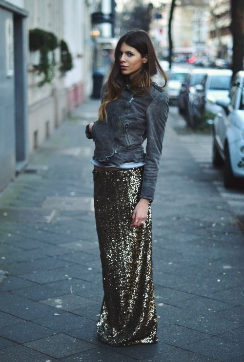 Shop this look for $204:  http://lookastic.com/women/looks/grey-denim-jacket-and-white-crew-neck-t-shirt-and-gold-sequin-maxi-skirt/1011  — Grey Denim Jacket  — White Crew-neck T-shirt  — Gold Sequin Maxi Skirt