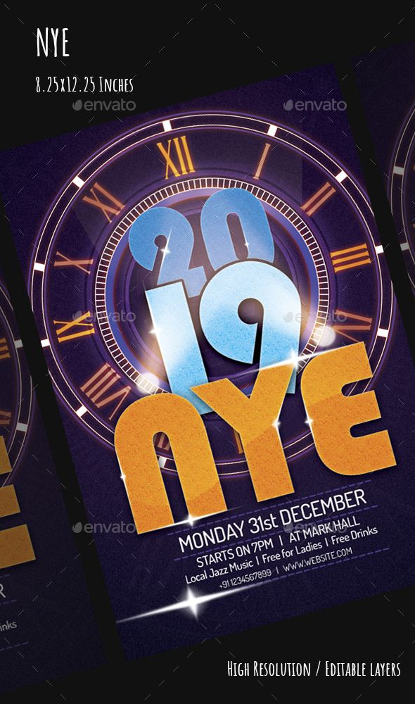 NYE 2019 Flyer Template PSD