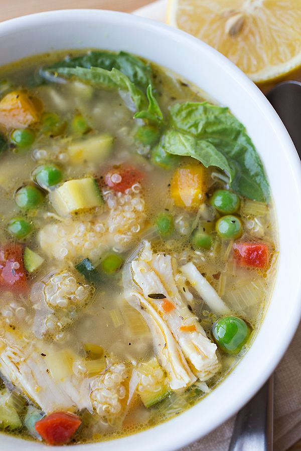 Simple Lemony Chicken & Spring Veggie Soup with Quinoa & Fresh Basil | thecozyapron.com