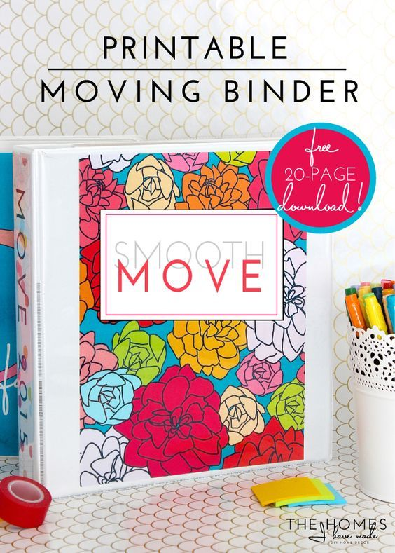 Printable organizer for moving created by a military wife.
