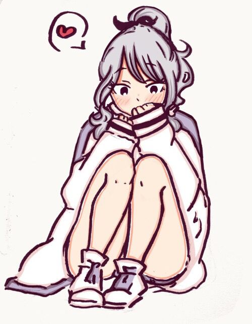 Cute lovely shy embarassed Juvia with the jacket of her crush