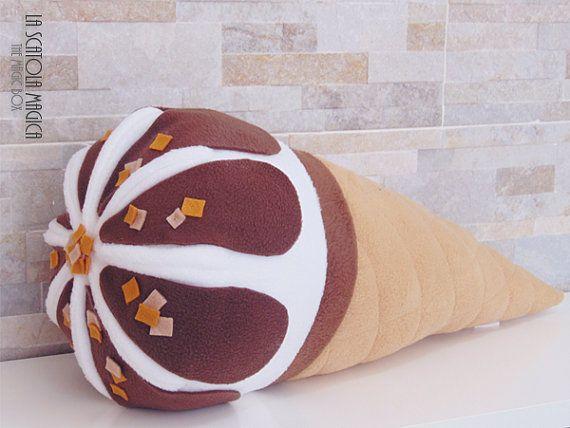 Food pillow - Italian style ice cream pillow - cushion housewares - handmade - polyester fleece