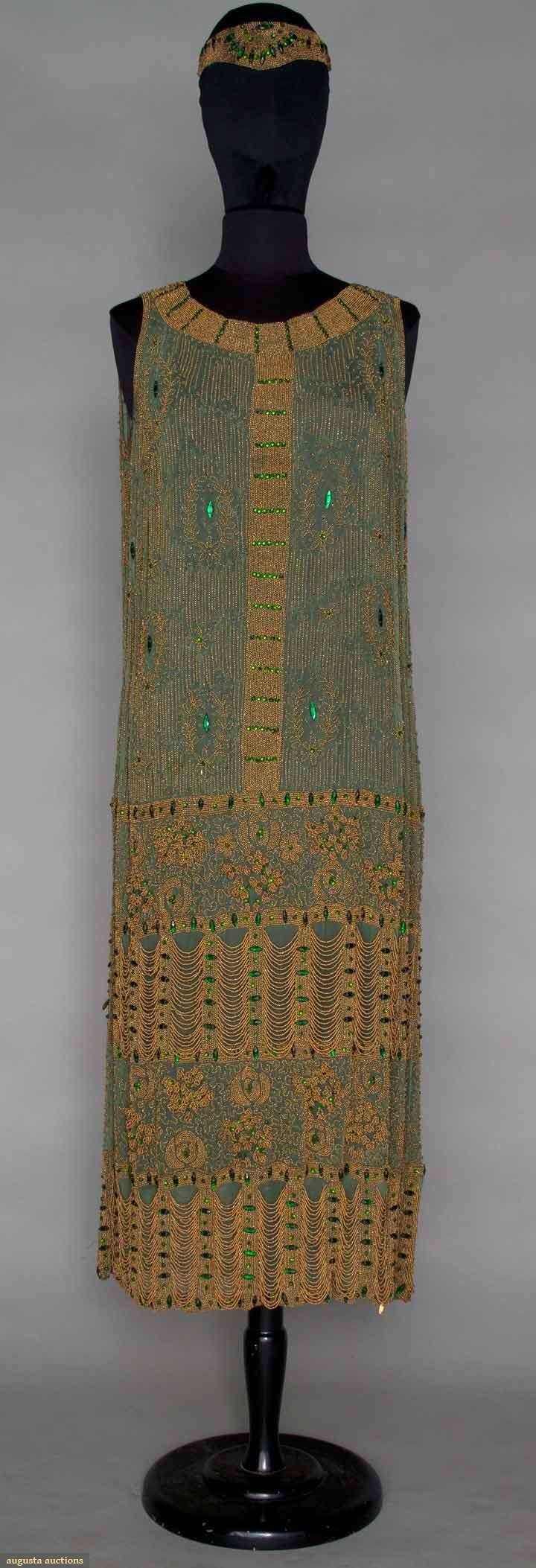 1921 dress and headband, Sage green chiffon completely covered in gold beads & green jewels, deep hem w/ 3 dimensional flowers & 2 deep bands of scalloped gold bead