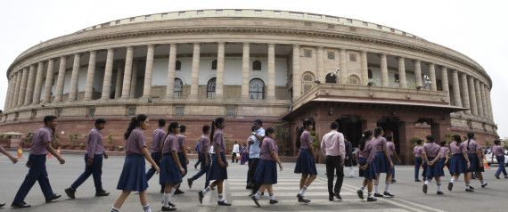 School kids visit the Indian Parliament, Delhi.