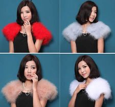 New Women's 100% Real Ostrich Feather Fur Bride Wedding Cape Wraps Accessory hot