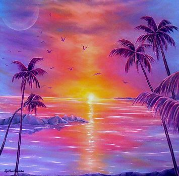 Imaginary Realism, Painting, fantasy, imagination, whimsical, tropical, seascape, sunset, tropics, palmtrees, sea, ocean, water, shimmering, light, sunlight, colorful, lavender, purple, art, artwork, fine art, oil painting