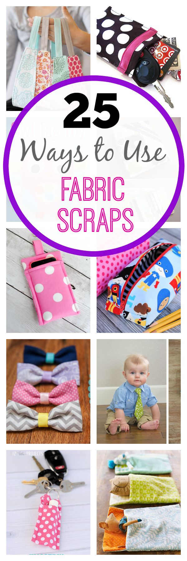Tweet Pin It If you're like me you probably have a lot of little fabric scraps of various sizes left over from previous sewing projects. They pile up in your closet or craft room and you love them but you aren't quite sure what to do with them. I've got a few project ideas for … [Read More…]