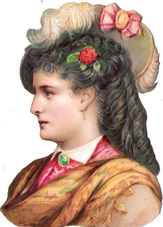 Oblaten Glanzbild scrap die cut chromo lady 10cm  Dame femme portrait