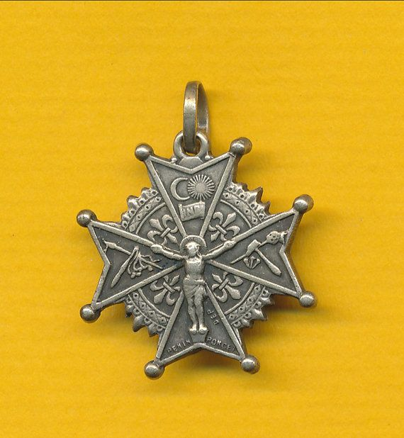 Antique Silver alloy Cross form Religious Medal by Laursimmedals