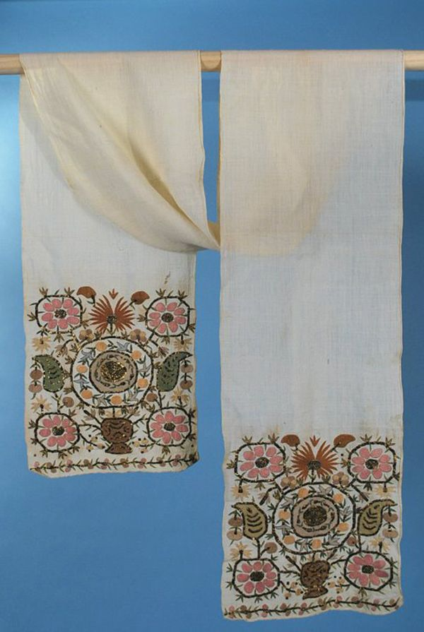 Antique Ottoman Turkish embroidered long sash
