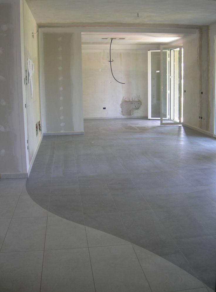 Pavimento personalizzato per arredo privato in grigio perla l 39 ingresso e in grigio scuro il - Paraspigoli per piastrelle bagno ...