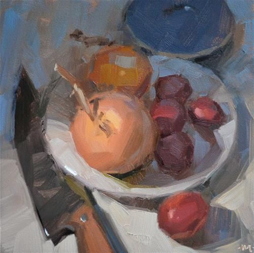 """Daily+Paintworks+-+""""Onions+and+Potatoes""""+-+Original+Fine+Art+for+Sale+-+©+Carol+Marine"""