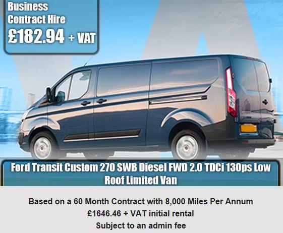Ford Transit Custom 270 SWB Diesel FWD 2.0 TDCi 130ps Low Roof Limited Van