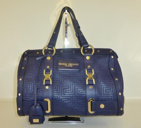 versace couture purple leather boston bag