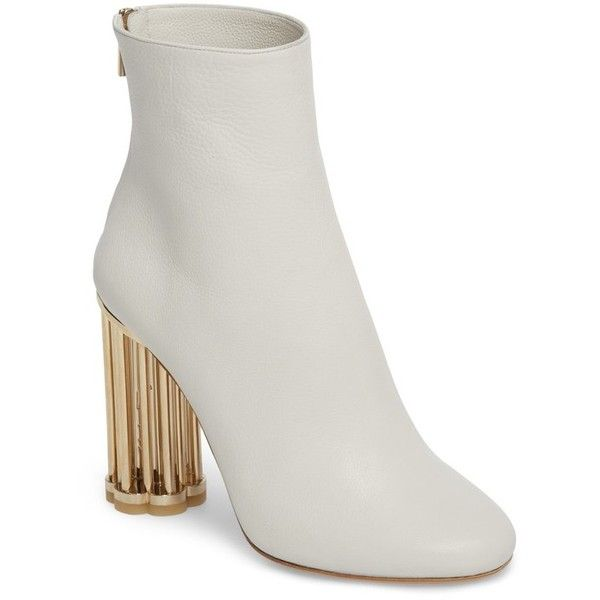 Women's Salvatore Ferragamo Coriano Statement Heel Bootie ($1,290) ❤ liked on Polyvore featuring shoes, boots, ankle booties, white, salvatore ferragamo, flower boots, white bootie, short boots and white short boots