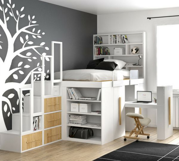Impero Young Bed With Sliding Desk Cart Space Saving Beds Small