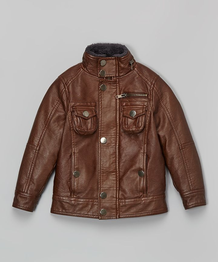Brown Faux Leather Bomber Jacket - Toddler & Boys