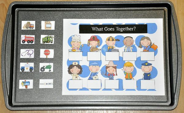 Community Helpers: What Goes Together Cookie Sheet Activity--The Community Helpers: What Goes Together Cookie Sheet Activity is a community helpers or occupations themed activity that focuses on making associations. In this activity, students match community workers to their associated objects. (Example: farmer-tractor, police officer-police car, chef-stove, etc.)