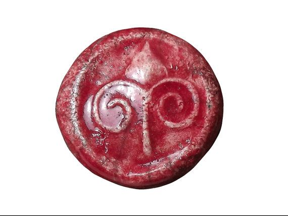 Ceramic Flower Button 1 1/8  28mm  red button by BlueBirdyDesign