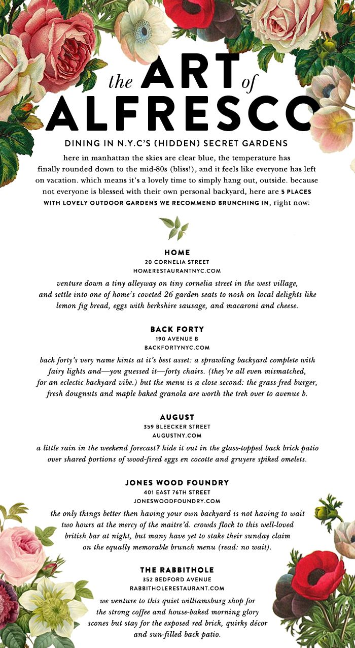 @Kat Ellis spade new york 's guide to brunching alfresco in NYC. A beautiful and nifty list!