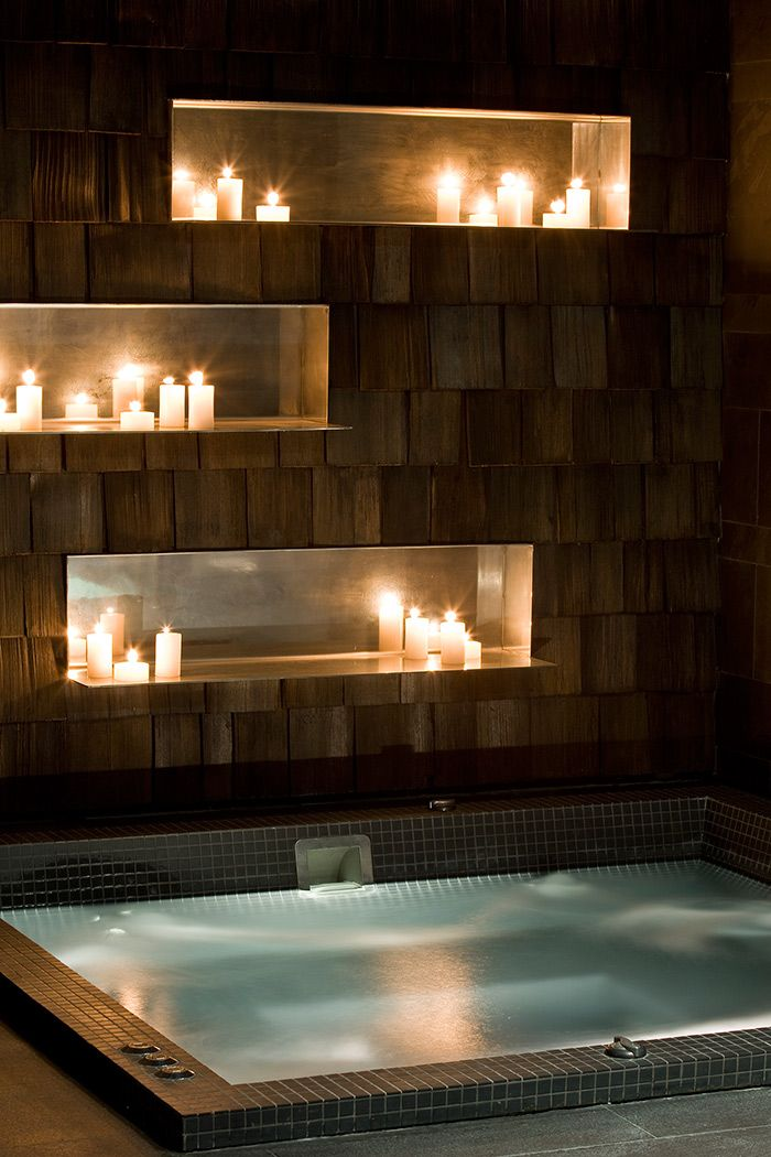 Hotel Jacuzzi - with stone & nooked candlelit backdrop.... romantic~ ~*~moonmistgirl~*~