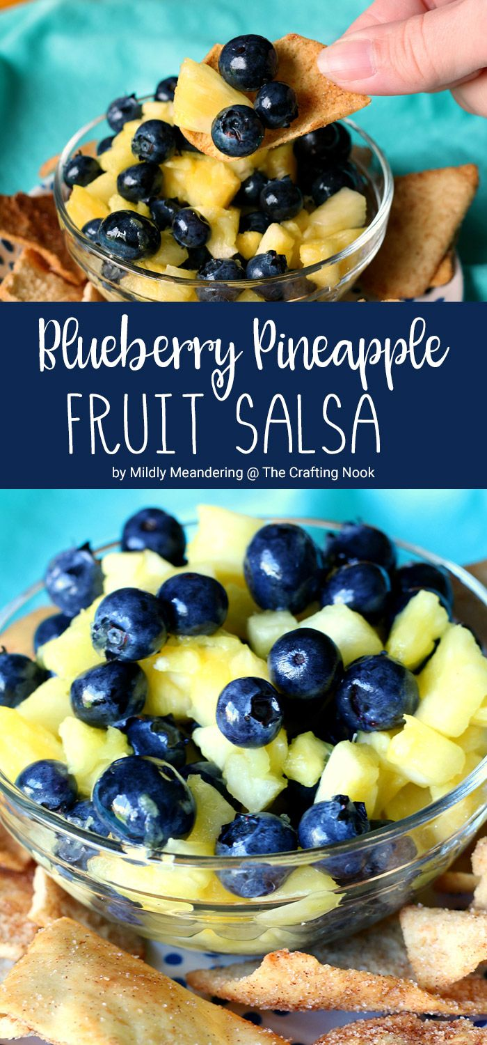 This Blueberry Pineapple Fruit Salsa is light, refreshing, and healthy too, jam-packed with fresh pineapple, blueberries, and lemon juice along with just a dash of honey to add a bit of sweetness. I served it with cinnamon pita chips but cinnamon tortilla chips would be delicious too!