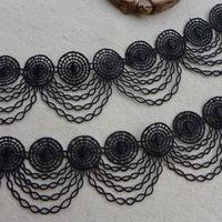Черный венеция кружевной отделкой, винтаж вдохновленный свадебные кружева, шик круг отделка, ювелирные изделия кружева костюмы дизайн