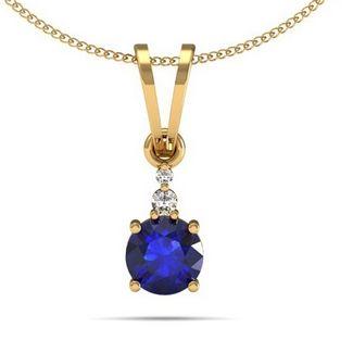 .30ct Round Tanzanite Pendant With .02ctw Diamonds in 14k Yellow Gold. #tanzanitependant toptanzanite.com