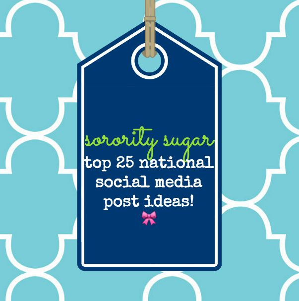 If you are creating a national social media site - or an individual chapter one - here are 25 great ideas for what to include in your posts! Promote your organization, share your special sisterhood and present a positive image online! <3 BLOG LINK: http://sororitysugar.tumblr.com/post/140806542434/sorority-qa-creating-a-national-social-media#notes