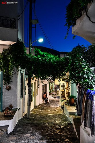 Skyros town by night