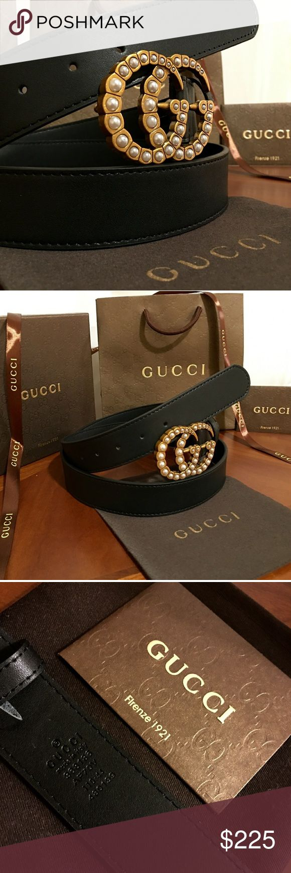 """Gucci Double G Belt!!! Gucci GG Belt W/Pearl & Antique Brass Double G Buckle!!!  Brand New!!!  Size Available - 32"""", 34"""", 36"""", 38"""", 40"""", 42""""!!!  Includes Gucci Belt, Gift Box, Dust Bag, Ribbon, Etc!!!  Great Gift Idea!!!  Last Available!!!  Check My Listings For Other Great Items!!!               Ignore: Gucci gg monogram casual dress belts men's women's guccissma leather gold silver web tiger bee embossed panther wool cable knit blooms supreme print angry cat ufo dragon studded snake double…"""