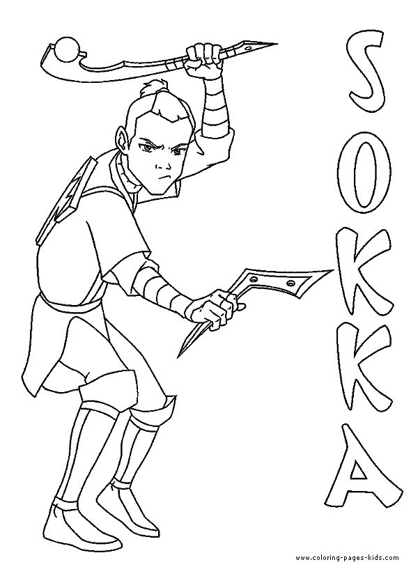 Sokka color page, Avatar The Last Airbender color page cartoon characters coloring pages, color plate, coloring sheet,printable coloring picture