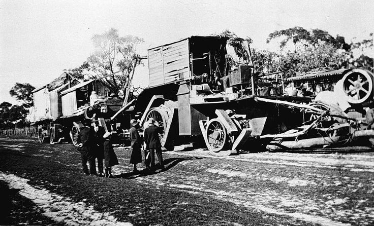 "'Big Lizzie' was the largest tractor built in Australia prior to World War II with a 60 hp 8 ton, 215 rpm single cylinder Blackstone crude oil engine. The tractor unit: 34' long x 11' wide x 18' high, the prime mover weighed 45 tons and with her 2 trailers was capable of carrying 80 tons payload. On the right is probably the traction engine: ""The Lieutenant"""