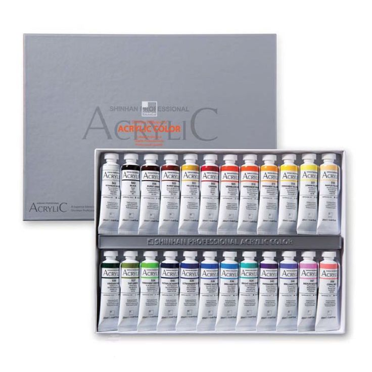Acrylic Color Paint Set Shinhan Professional 24 Colors 20ml Tube, Artist Drawing #Shinhan