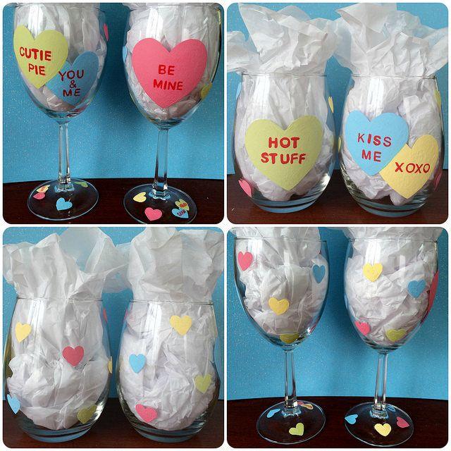 Valentine wine glasses glasses wine glass and diy and for Wine bottle glasses diy