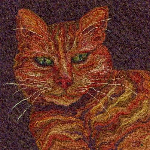 """28 vind-ik-leuks, 2 reacties - Jane Jackson (@brightseedtextiles) op Instagram: 'This is my now sadly ex-cat """"Gingersnap."""" I did most of the fine detail in needle felted individual…'"""