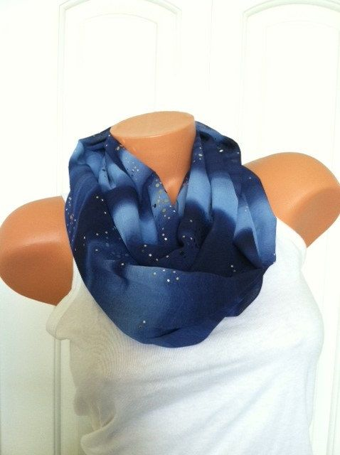 Perfect, Blue, and Sparkly! Great for holiday outfits or winter weddings! Midnight Blue Sparkle Infinity Scarf  Sparkly Chiffon by mizzeztee, $25.00