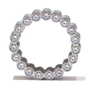 Sterling silver eternity ring features 19 glistening crystals set on the side of ring. -£620