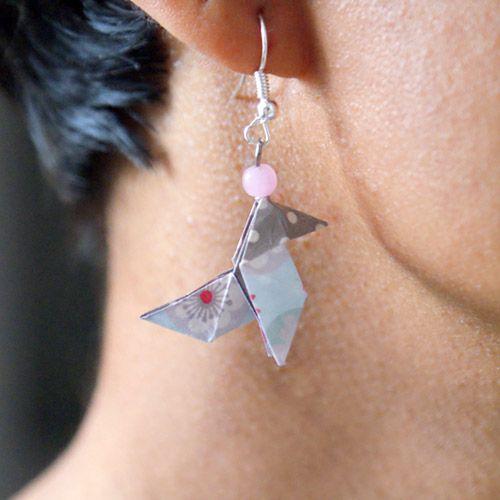 boucle d'oreille cocote en papier origami