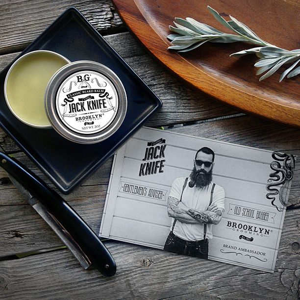 """We're happy to announce that we've teamed up with International man of mystery and tonsorial consultant extraordinaire Lord Jack Knife to create """"LJK Beard Balm""""  LJK Beard Balm has the same mineral-rich formula as our Whiskers Beard Oil but with the addition of unrefined beeswax and nourishing shea butter maximizing cling for longer, thicker or coarser beards.  #mensgrooming #brooklyngrooming #ljk #lordjackknife #mensstyle #handmade #brooklynsbest #natural #classic"""