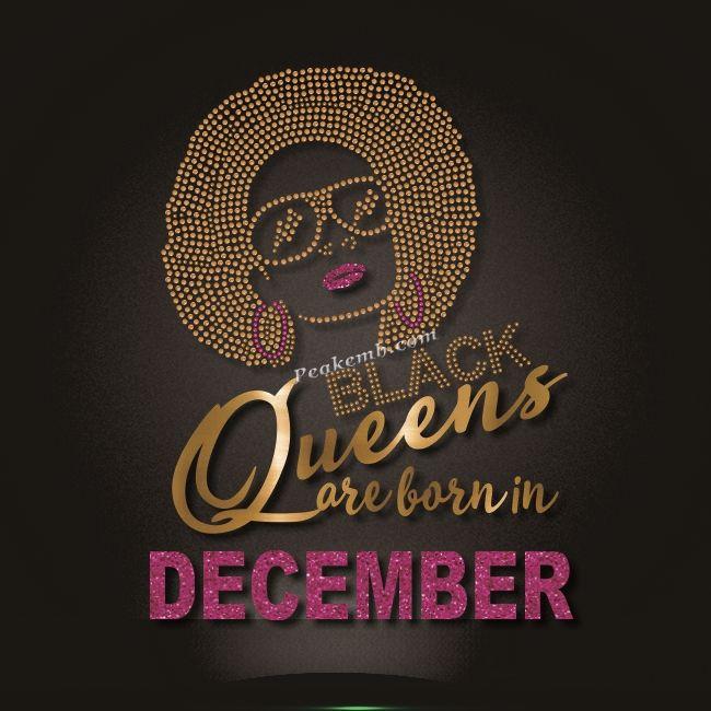 December Black Queen Iron On Rhinestone Glitter Transfer With