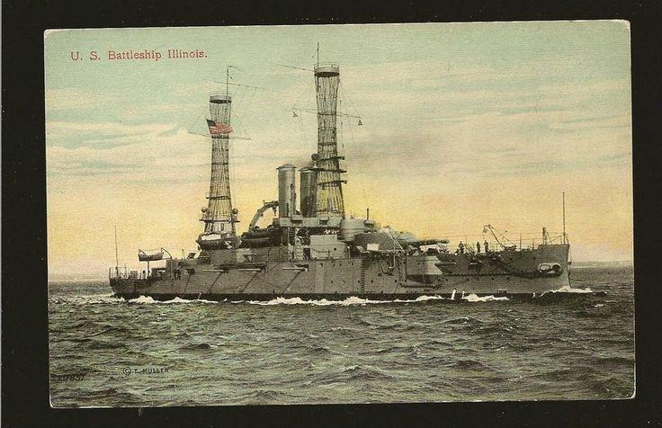 US Battleship Illinois E Muller/Valentine Postcard