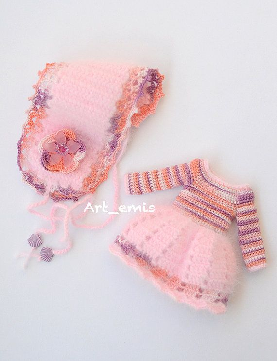 Crochet set for Blythe doll Pink tones by ByArtemis on Etsy