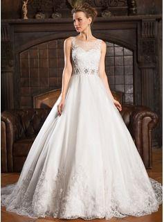 De baile Decote redondo Cauda de sereia Tule Vestido de noiva com Renda Bordado Lantejoulas - R$ 731,46