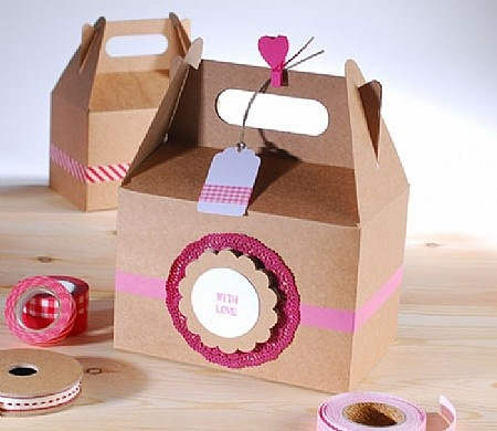 Kraft Gable Boxes Filled w/ Goodies