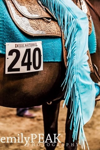 In western shows, your tack and outfit should match in some way shape or form.