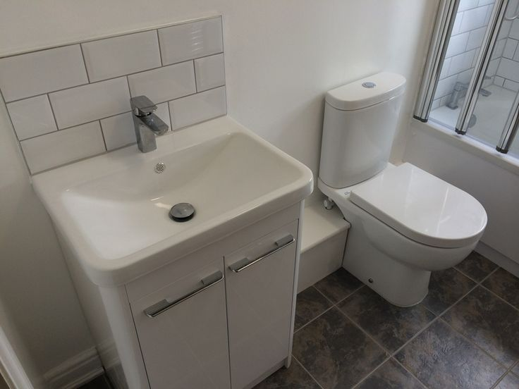 Web Photo Gallery Cloakroom Vanity Unit with Metro Tiles as Backsplash by UK Bathroom Guru