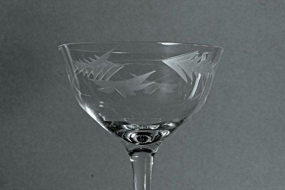 Etched Champagne Coupe Vintage  Clear Glass by MountainAireVintage, $8.00