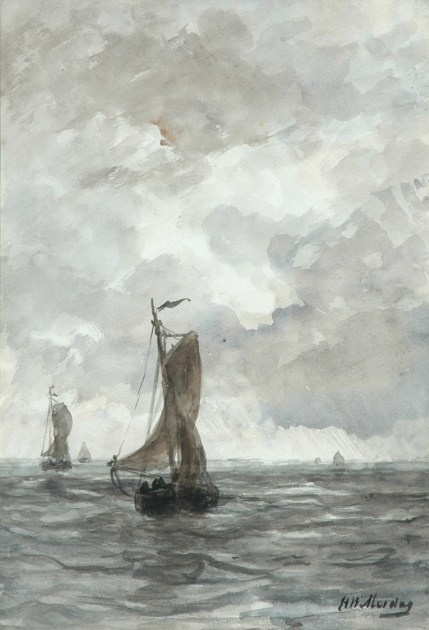Hendrik Willem Mesdag (1831-1915) - Bringing in the catch - watercolour on paper