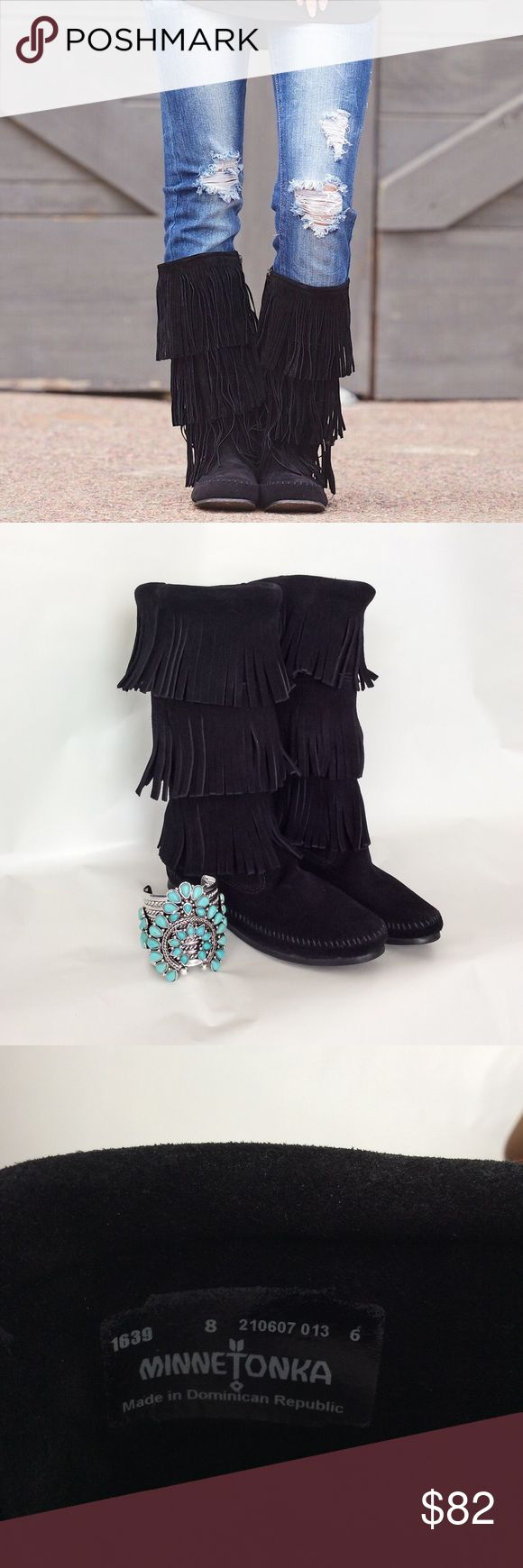 Minnetonka Suede Fringe Boots New in Box Sz 8/8.5 Brand new in the box Minnetonka Black 3 layer Fringe suede moccasin style boots. Pull on, no zipper. 100% Authentic. Size 8, these come in whole sizes only so they also fit an 8.5 Minnetonka Shoes